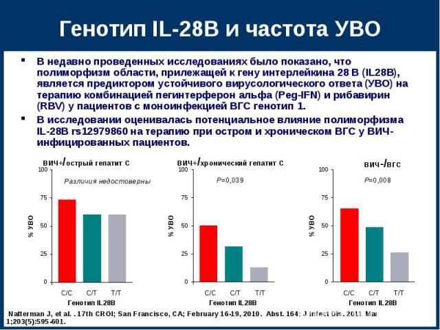 В недавно проведенных исследованиях было показано, что полиморфизм области, прилежащей к гену интерлейкина 28 B (IL28B), является предиктором устойчивого вирусологического ответа (УВО) на терапию комбинацией пегинтерферон альфа (Peg-IFN) и рибавирин…