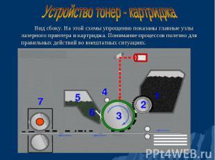 Вид сбоку. На этой схемы упрощенно показаны главные узлы лазерного принтера и ка
