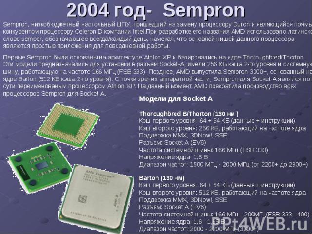 2004 год- Sempron