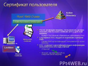 После активации машины, пользователь должен получить RM Account Certificate (RAC