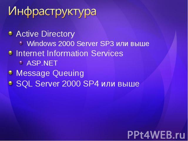 Active Directory Active Directory Windows 2000 Server SP3 или выше Internet Information Services ASP.NET Message Queuing SQL Server 2000 SP4 или выше