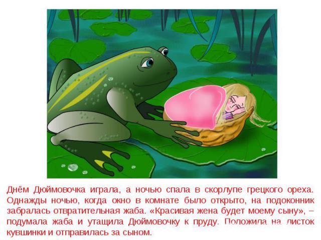 Днём Дюймовочка играла, а ночью спала в скорлупе грецкого ореха. Однажды ночью, когда окно в комнате было открыто, на подоконник забралась отвратительная жаба. «Красивая жена будет моему сыну», – подумала жаба и утащила Дюймовочку к пруду. Положила …