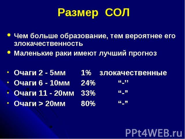 """Размер СОЛ Чем больше образование, тем вероятнее его злокачественность Маленькие раки имеют лучший прогноз Очаги 2 - 5мм 1% злокачественные Очаги 6 - 10мм 24% """"-'' Очаги 11 - 20мм 33% """"-"""" Очаги > 20мм 80% """"-"""""""