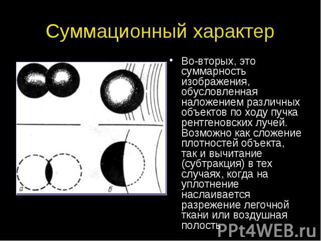 Суммационный характер Во-вторых, это суммарность изображения, обусловленная наложением различных объектов по ходу пучка рентгеновских лучей. Возможно как сложение плотностей объекта, так и вычитание (субтракция) в тех случаях, когда на уплотнение на…