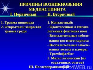 ПРИЧИНЫ ВОЗНИКНОВЕНИЯ МЕДИАСТИНИТА I. Первичный II. Вторичный 1. Травма пищевода