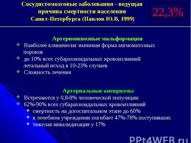 Сосудистомозговые заболевания - ведущая Сосудистомозговые заболевания - ведущая причина смертности населения Санкт-Петербурга (Павлов Ю.В, 1999)