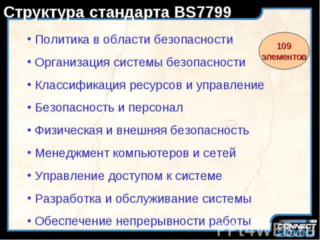 Структура стандарта BS7799