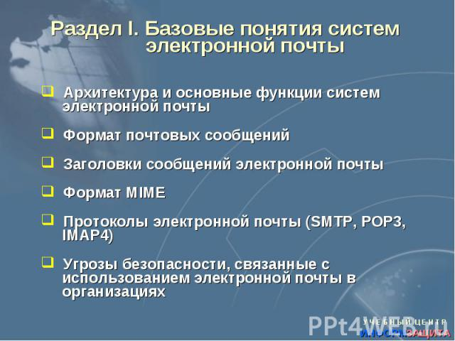 Раздел I. Базовые понятия систем электронной почты