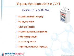Угрозы безопасности в СЭП Основные цели СПАМа: