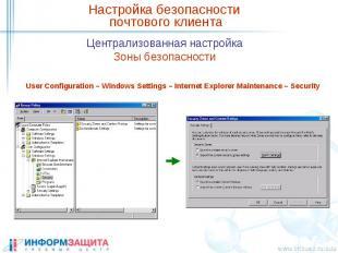 Настройка безопасности почтового клиента Централизованная настройка Зоны безопас