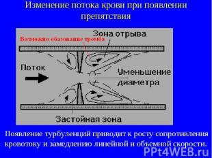 Изменение потока крови при появлении препятствия Появление турбуленций приводит