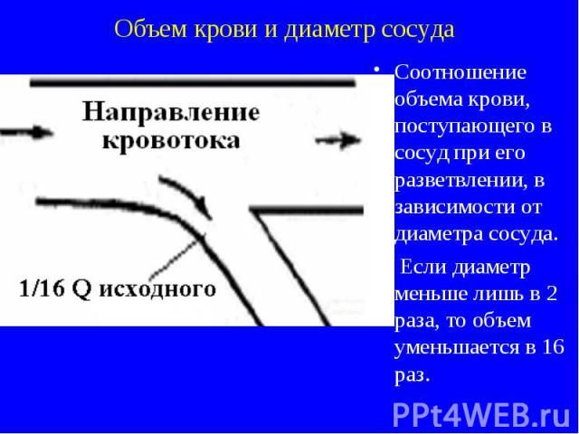 Объем крови и диаметр сосуда Соотношение объема крови, поступающего в сосуд при его разветвлении, в зависимости от диаметра сосуда. Если диаметр меньше лишь в 2 раза, то объем уменьшается в 16 раз.