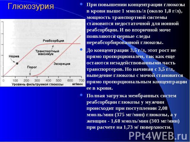 Глюкозурия При повышении концентрации глюкозы в крови выше 1 ммоль/л (около 1,8 г/л), мощность транспортной системы становится недостаточной для ионной реабсорбции. И во втоpичной моче появляются первые следы нереабсорбированной глюкозы. До концентр…