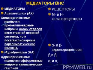 МЕДИАТОРЫ ВНС МЕДИАТОРЫ Ацетилхолин (АХ) Холинергическими являются преганглионар