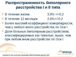 Распространенность биполярного расстройства I и II типа В течение жизни 3.9% +/-