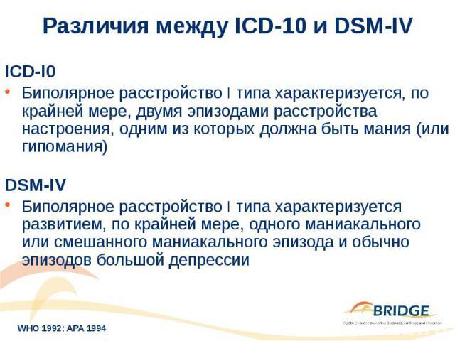 Различия между ICD-10 и DSM-IV ICD-I0 Биполярное расстройство I типа характеризуется, по крайней мере, двумя эпизодами расстройства настроения, одним из которых должна быть мания (или гипомания) DSM-IV Биполярное расстройство I типа характеризуется …