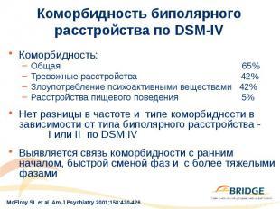 Коморбидность биполярного расстройства по DSM-IV Коморбидность: Общая 65% Тревож