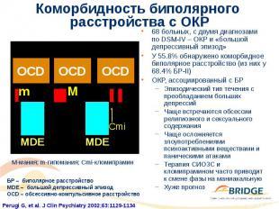 Коморбидность биполярного расстройства с ОКР 68 больных, с двумя диагнозами по D