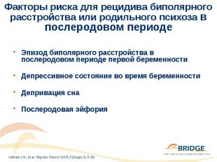 Факторы риска для рецидива биполярного расстройства или родильного психоза в пос