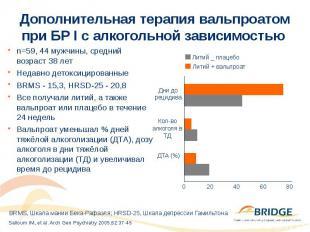 Дополнительная терапия вальпроатом при БР I с алкогольной зависимостью n=59, 44