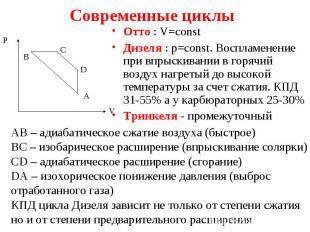 Отто : V=const Отто : V=const Дизеля : p=const. Воспламенение при впрыскивании в