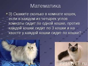 3) Скажите сколько в комнате кошек, если в каждом из четырех углов комнаты сидит