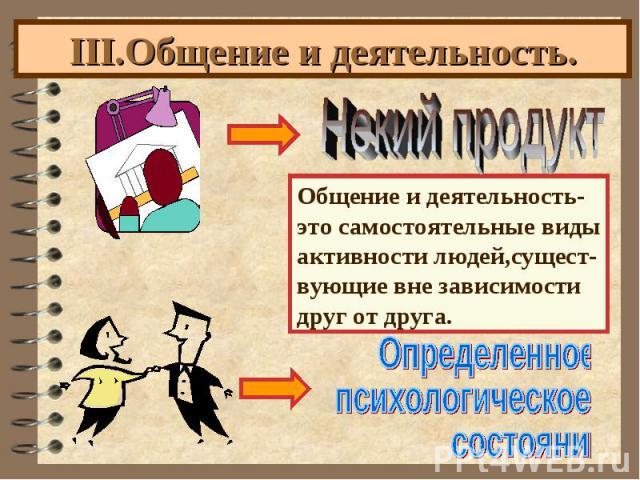 III.Общение и деятельность.