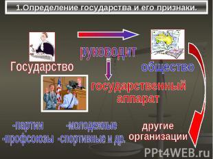 1.Определение государства и его признаки.