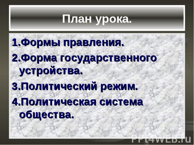 План урока. 1.Формы правления. 2.Форма государственного устройства. 3.Политический режим. 4.Политическая система общества.