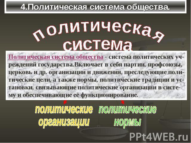 4.Политическая система общества.