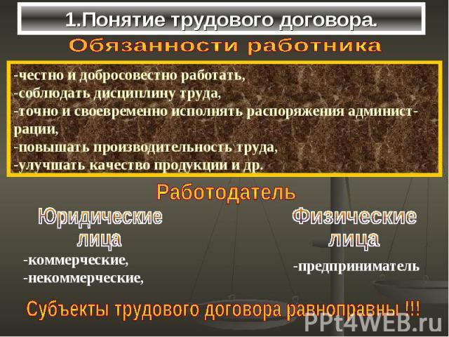 1.Понятие трудового договора.