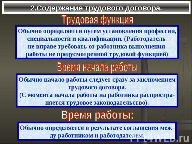 2.Содержание трудового договора.