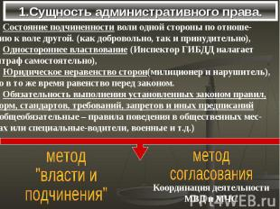 1.Сущность административного права.