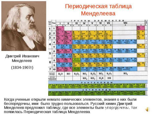 Когда ученные открыли немало химических элементов, знания о них были беспорядочны, ими было трудно пользоваться. Русский химик Дмитрий Менделеев предложил таблицу, где все элементы были упорядочены. Так появилась Периодическая таблица Менделеева Ког…