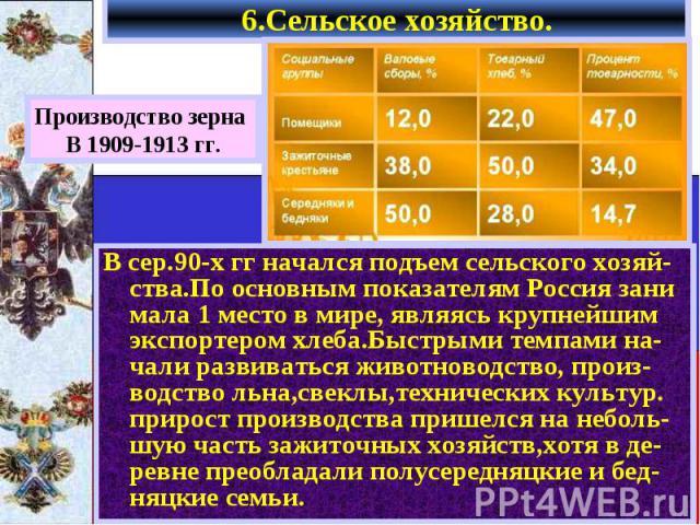 6.Сельское хозяйство. В сер.90-х гг начался подъем сельского хозяй- ства.По основным показателям Россия зани мала 1 место в мире, являясь крупнейшим экспортером хлеба.Быстрыми темпами на-чали развиваться животноводство, произ-водство льна,свеклы,тех…