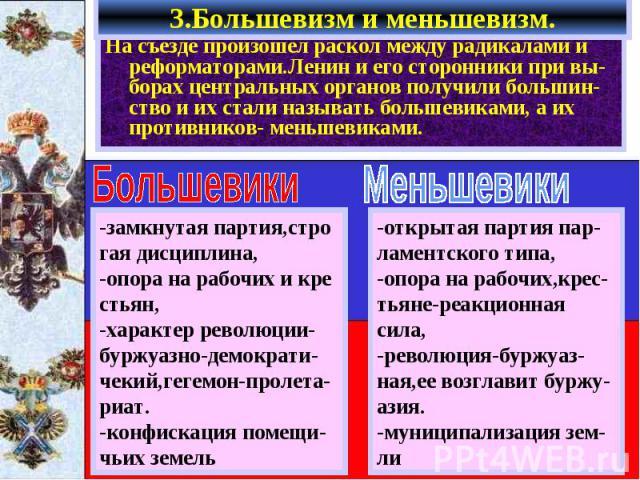3.Большевизм и меньшевизм. На съезде произошел раскол между радикалами и реформаторами.Ленин и его сторонники при вы-борах центральных органов получили большин-ство и их стали называть большевиками, а их противников- меньшевиками.