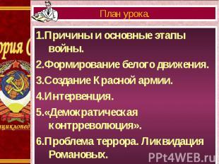 1.Причины и основные этапы войны. 1.Причины и основные этапы войны. 2.Формирован
