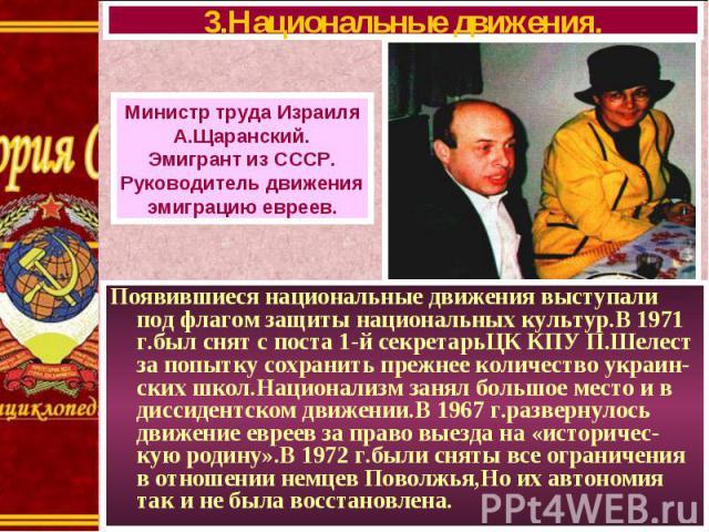 Появившиеся национальные движения выступали под флагом защиты национальных культур.В 1971 г.был снят с поста 1-й секретарьЦК КПУ П.Шелест за попытку сохранить прежнее количество украин- ских школ.Национализм занял большое место и в диссидентском дви…