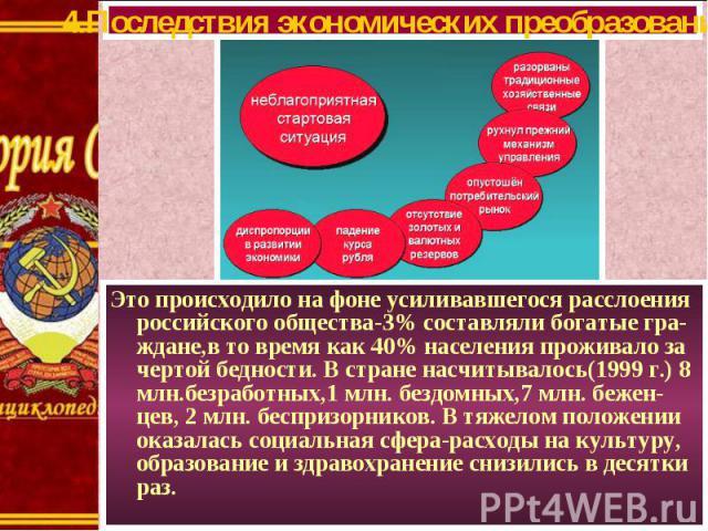 Это происходило на фоне усиливавшегося расслоения российского общества-3% составляли богатые гра- ждане,в то время как 40% населения проживало за чертой бедности. В стране насчитывалось(1999 г.) 8 млн.безработных,1 млн. бездомных,7 млн. бежен-цев, 2…