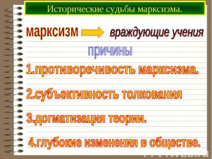 Исторические судьбы марксизма.