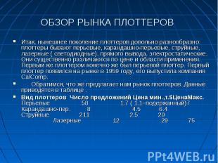 ОБЗОР РЫНКА ПЛОТТЕРОВ Итак, нынешнее поколение плоттеров довольно разнообразно: