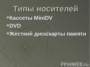 Типы носителей Кассеты MiniDV DVD Жёсткий диск/карты памяти