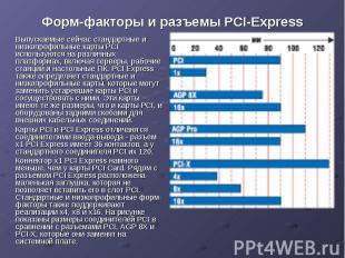 Форм-факторы и разъемы PCI-Express Выпускаемые сейчас стандартные и низкопрофиль