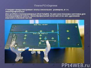 Плата PCI-Express Стандарт предусматривает платы нескольких размеров, в т.ч. низ