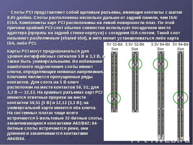 Слоты PCI представляют собой щелевые разъемы, имеющие контакты с шагом 0,05 дюйма. Слоты расположены несколько дальше от задней панели, чем ISA/ EISA. Компоненты карт PCI расположены на левой поверхности плат. По этой причине крайний PCI-слот обычно…