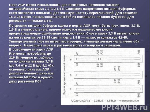 Порт AGP может использовать два возможных номинала питания интерфейсных схем: 3,3 В и 1,5 В Снижение напряжения питания буферных схем позволяет повысить достижимую частоту переключений. Для режимов 1х и 2х может использоваться любой из номиналов пит…
