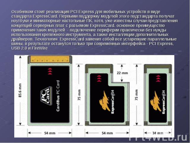 Особняком стоит реализация PCI Express для мобильных устройств в виде стандарта ExpressCard. Первыми поддержку модулей этого подстандарта получат ноутбуки и миниатюрные настольные ПК, хотя, уже известны случаи представления концепций серверных плат …