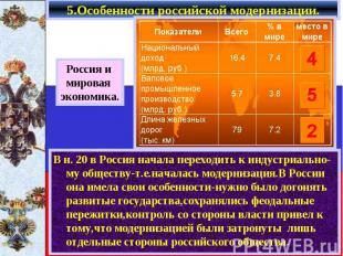 5.Особенности российской модернизации. В н. 20 в Россия начала переходить к инду