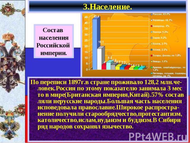3.Население. По переписи 1897г.в стране проживало 128,2 млн.че-ловек.Россия по этому показателю занимала 3 мес то в мире(Британская империя,Китай).57% состав ляли нерусские народы.Большая часть населения исповедовала православие.Широкое распростра-н…