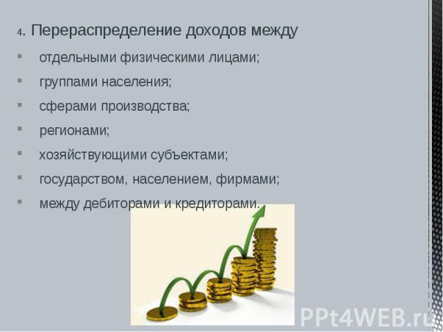 4. Перераспределение доходов между 4. Перераспределение доходов между отдельными физическими лицами; группами населения; сферами производства; регионами; хозяйствующими субъектами; государством, населением, фирмами; между дебиторами и кредиторами.